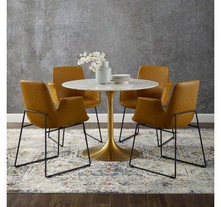 "Tulip 40"" Round Marble Dining Table  With Gold Base"