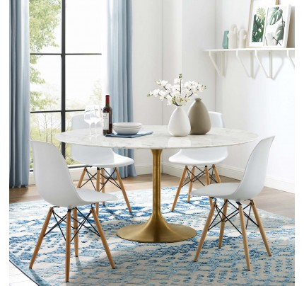 """Tulip 60"""" Round Marble Dining Table With Gold Base"""