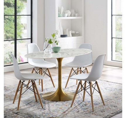 """Tulip 54"""" Oval Marble Dining Table With Gold Base"""