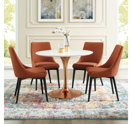 "Tulip 40"" Round Wood Dining Table With Copper Base"
