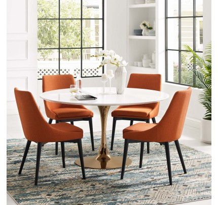 "Tulip 54"" Round Wood Dining Table With Copper Base"