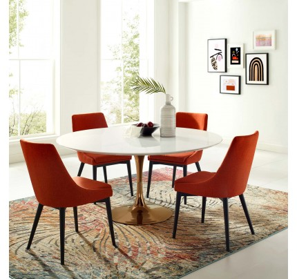 "Tulip 60"" Round Wood Dining Table Copper Base"