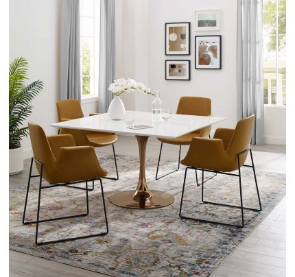 """Tulip 47"""" Square Wood Top Dining Table With Copper Base"""