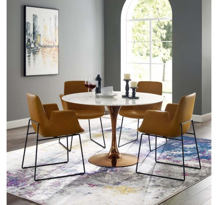 """Tulip 47"""" Round Marble Dining Table With Copper Base"""