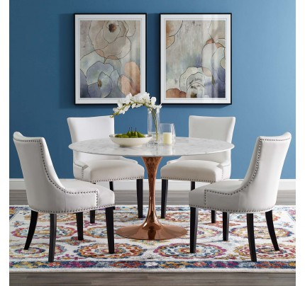 """Tulip 54"""" Round Marble Dining Table With Copper Base"""