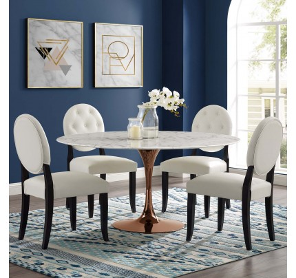 """Tulip 60"""" Round Marble Dining Table With Copper Base"""