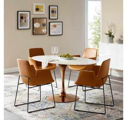 """Tulip 60"""" Oval Marble Dining Table WithCopper Base"""