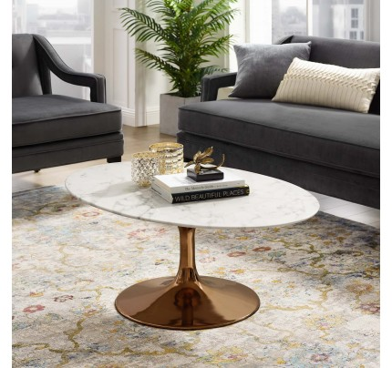 "Tulip 42"" Oval-Shaped Marble Coffee Table"