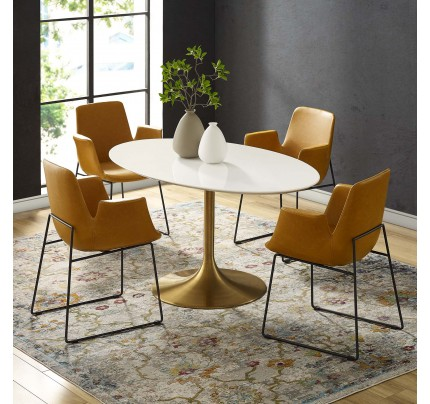"Tulip 60"" Oval Wood Dining Table With Gold Base"