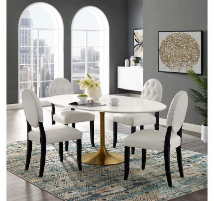 "Tulip 78"" Oval Wood Dining Table With Gold Base"