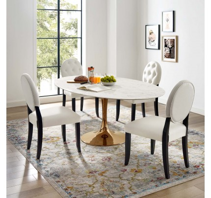 """Tulip 78"""" Oval Marble Dining Table With Copper Base"""