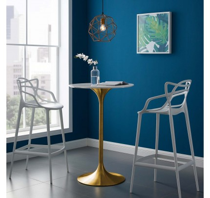 """Tulip 28"""" Wood Top Bar Table With Gold Base"""