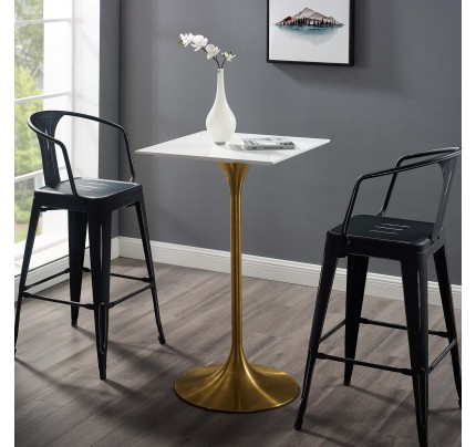 """Tulip 28"""" Square Wood Top Bar Table With Gold Base"""