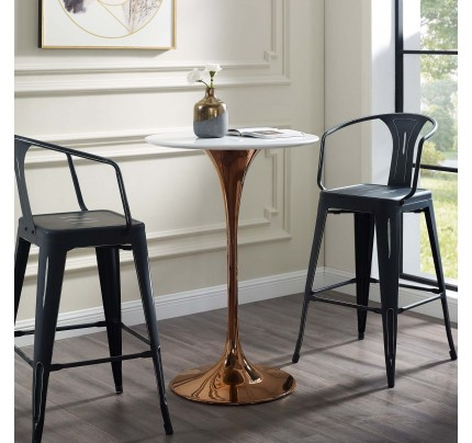 """Tulip 28"""" Wood Top Bar Table with Copper Base"""