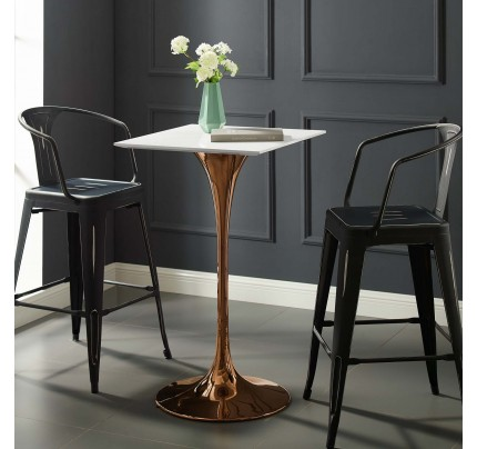 """Tulip 28"""" Square Wood Top Bar Table With Copper Base"""