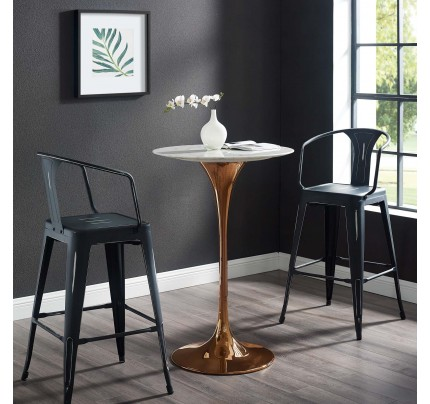 """Tulip 28"""" Marble Bar Table With Copper Base"""