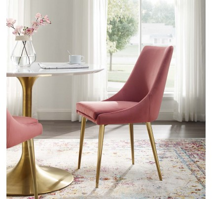 Viscount Modern Accent Performance Velvet Dining Chair - Dusty Rose