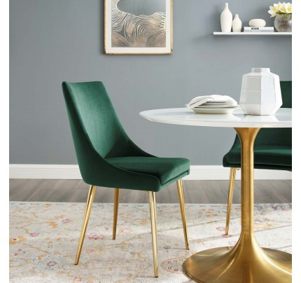 Viscount Modern Accent Performance Velvet Dining Chair - Green