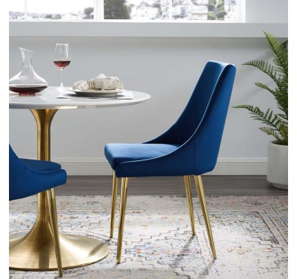 Viscount Modern Accent Performance Velvet Dining Chair - Navy