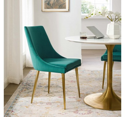 Viscount Modern Accent Performance Velvet Dining Chair - Teal