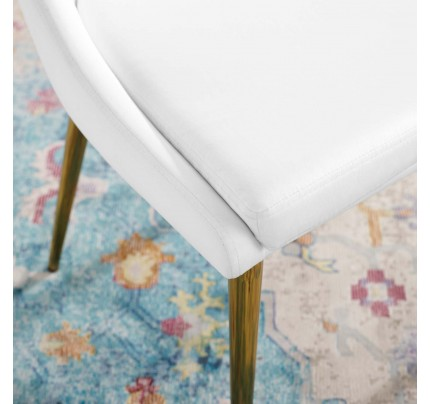 Viscount Modern Accent Performance Velvet Dining Chair - White