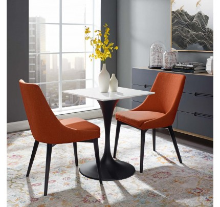 """Tulip 24"""" Square Wood Top Dining Table With Black Base"""