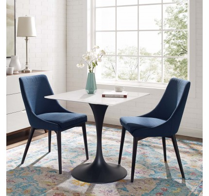 """Tulip 28"""" Square Wood Top Dining Table With Black Base"""