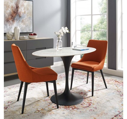 """Tulip 48"""" Oval Marble Dining Table With Black Base"""