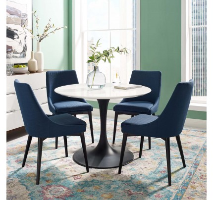 "Tulip 40"" Round Wood Dining Table With Black Base"