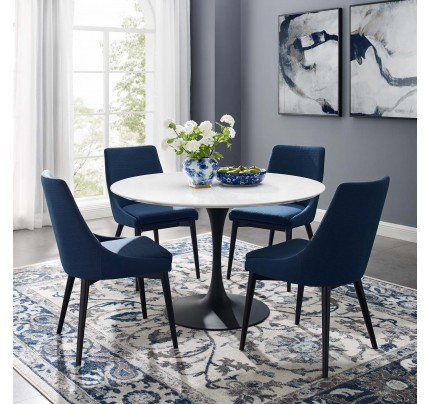 """Tulip 47"""" Round Wood Dining Table With Black Base"""