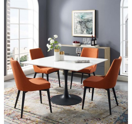 """Tulip 47"""" Square Wood Top Dining Table With Black Base"""