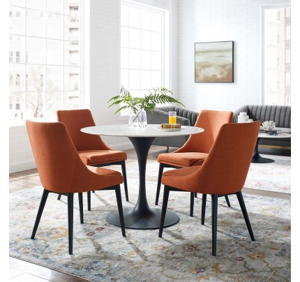 "Tulip 40"" Round Marble Dining Table With Black Base"