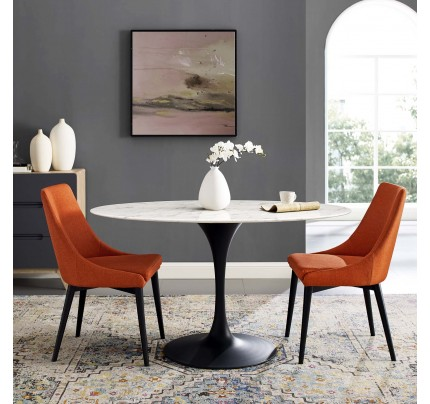 """Tulip 54"""" Oval Marble Dining Table With Black Base"""