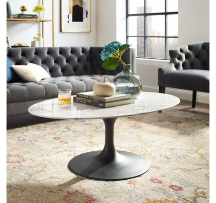 "Tulip 42"" Oval Marble Coffee Table With Black Base"