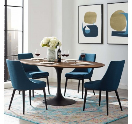 """Tulip 78"""" Oval Wood Dining Table"""