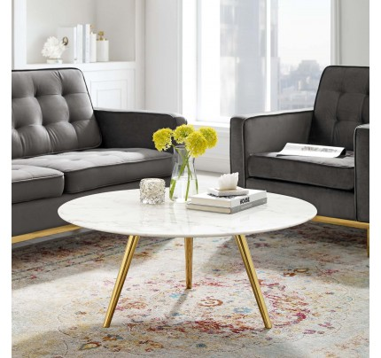 "Tulip 36"" Round Marble Coffee Table with Tripod Base"