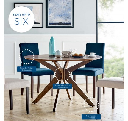 "Crossroads 47"" Round Wood Dining Table - Walnut"