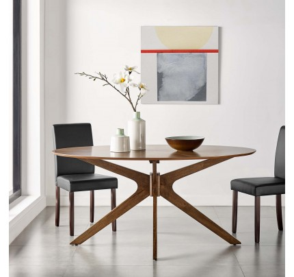 "Crossroads 63"" Oval Wood Dining Table - Walnut"